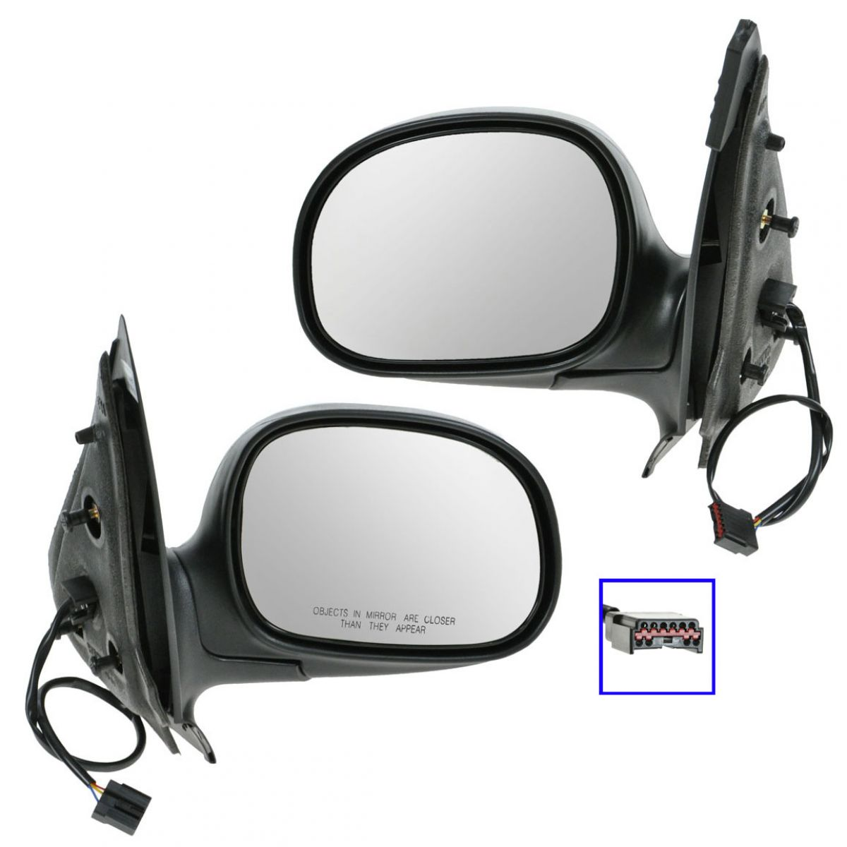 Power Side View Mirrors Black & Chrome Pair Set For Ford