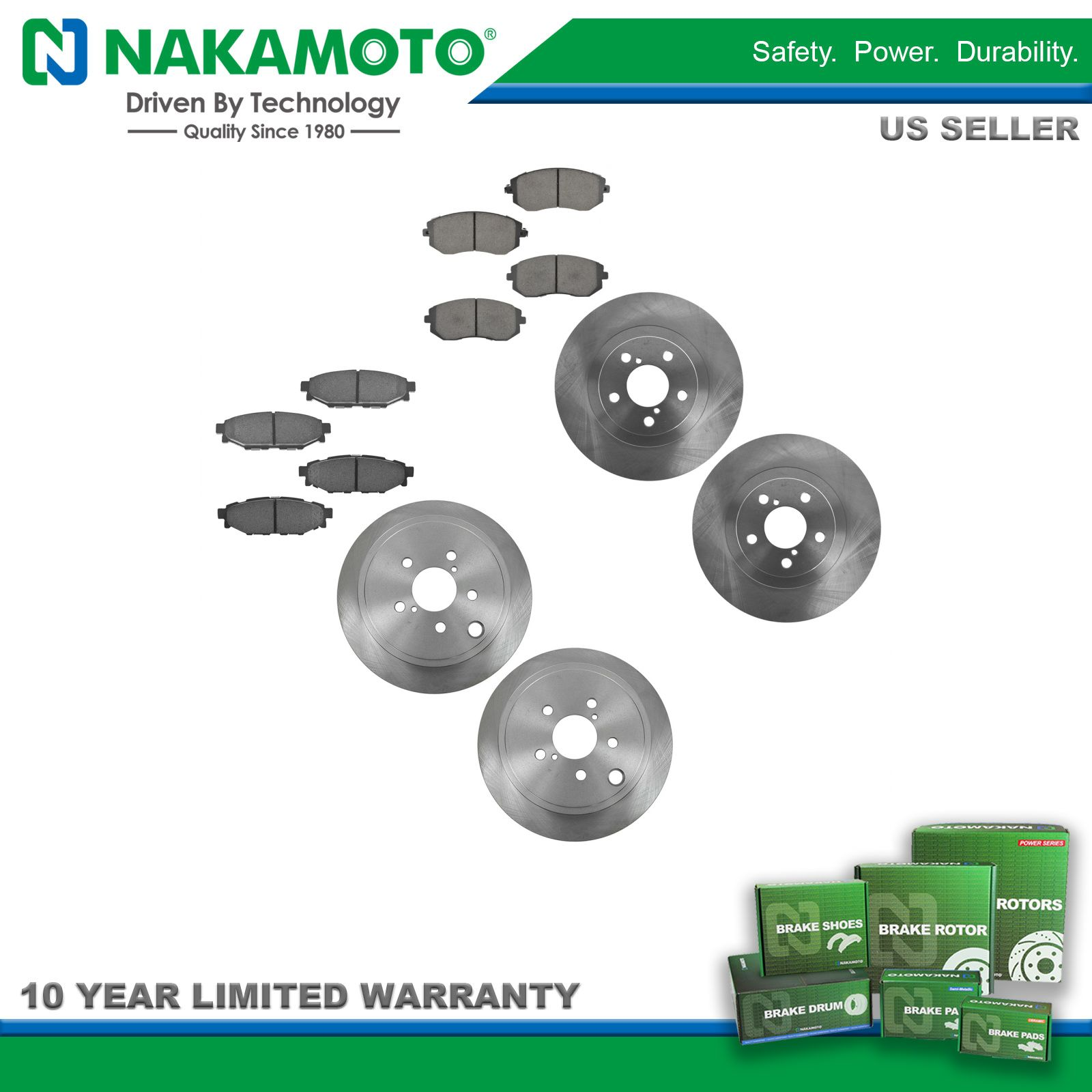 Nakamoto Premium Posi Ceramic Brake Pad & Rotor Kit Front & Rear Set for Subaru
