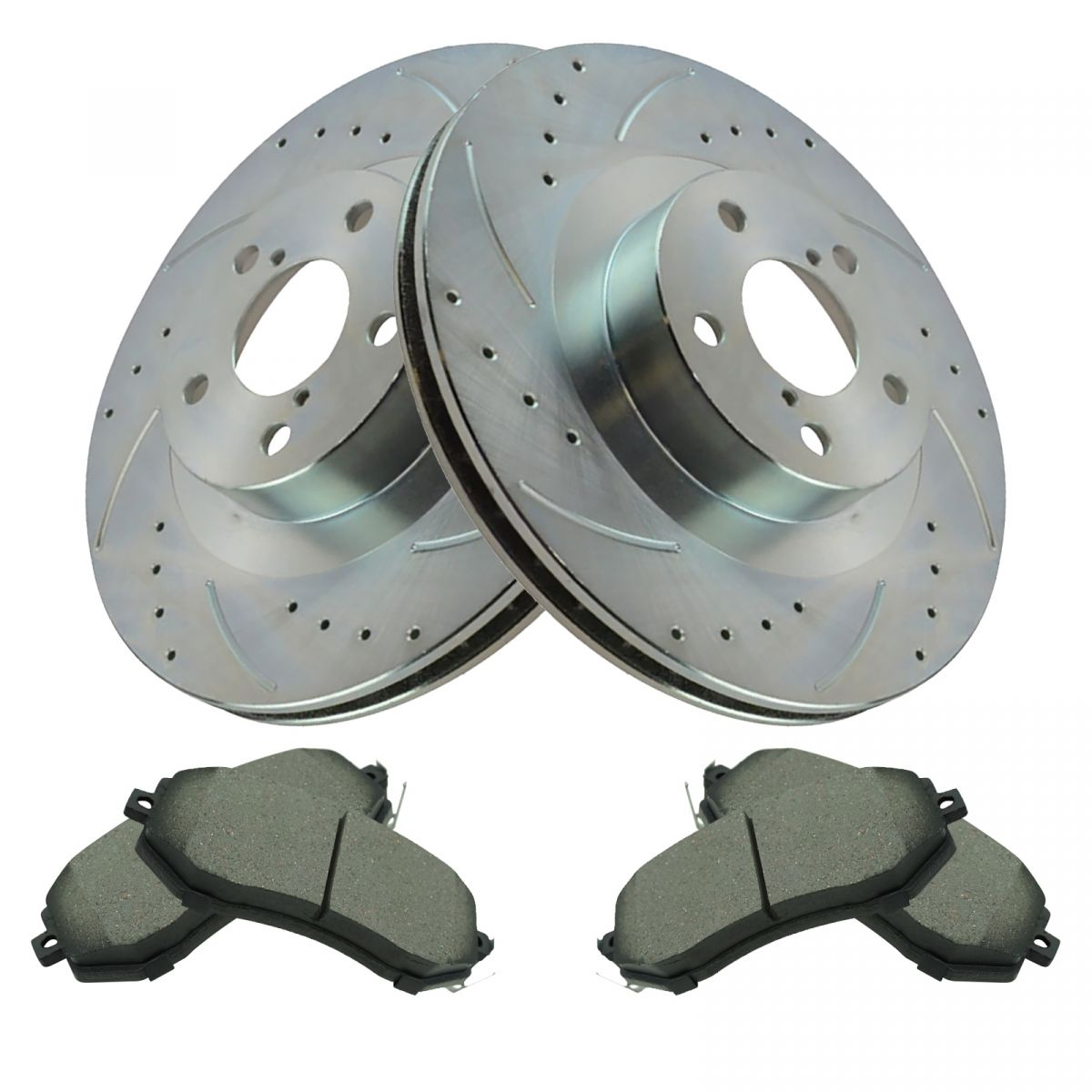 Front+Rear Kit 5lug 4 OEM Replacement Disc Brake Rotors 8 Ceramic Pads Fits:- Camry High-End