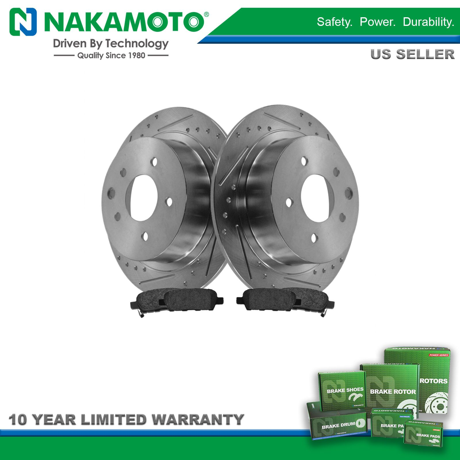 Nakamoto Performance Drilled Slotted Brake Rotor /& Posi Metallic Pad Front Kit