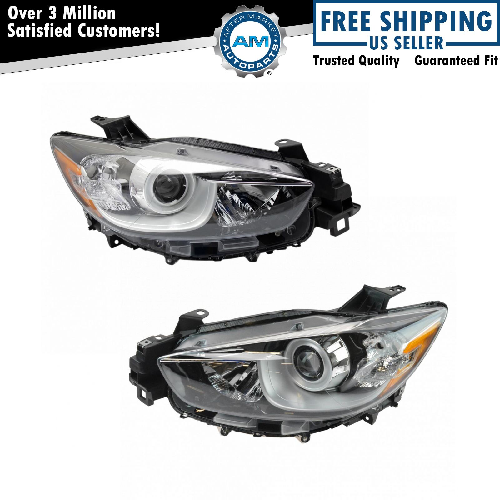 Halogen Headlight LH Driver & RH Passenger Side Pair For