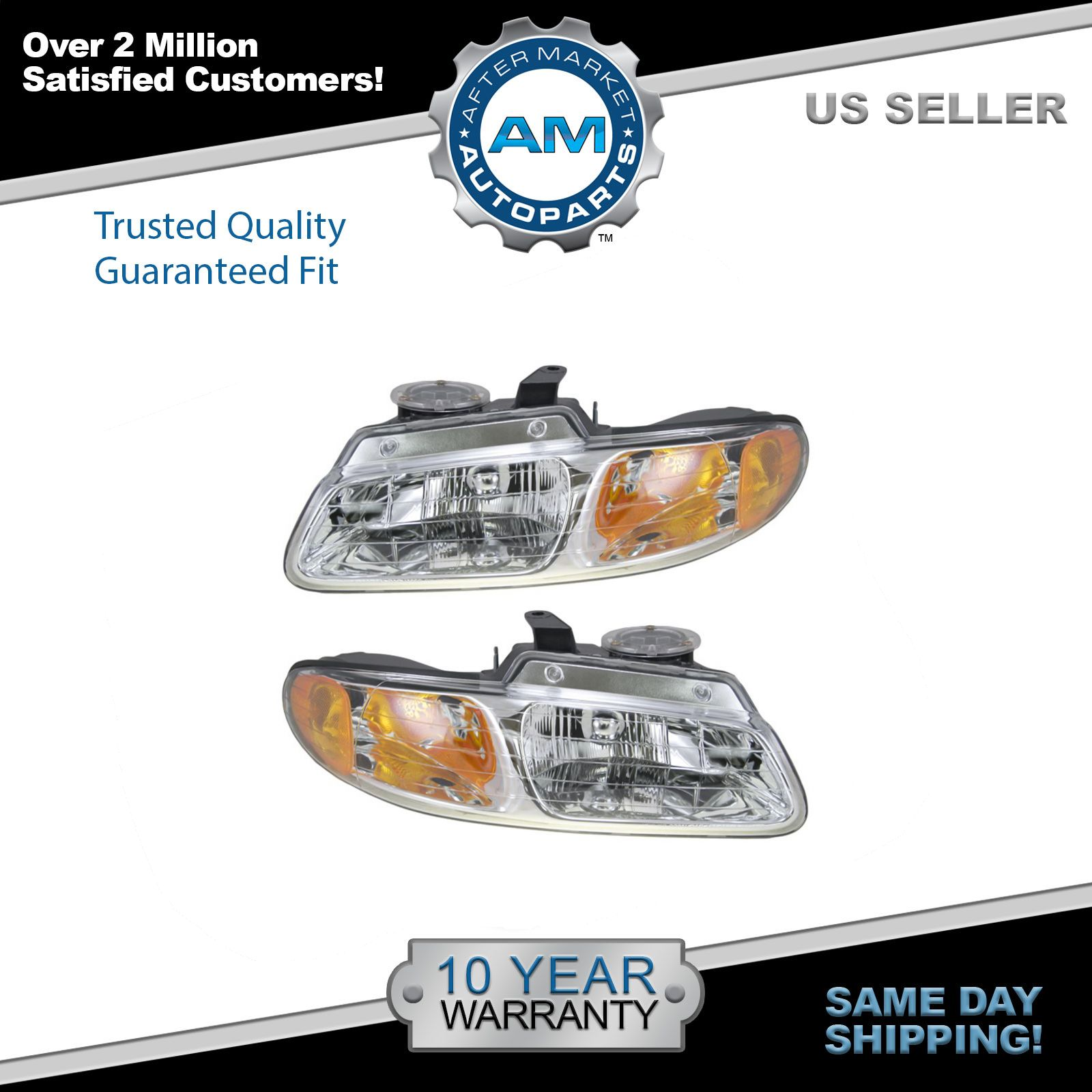 Headlights Headlamps Left Right Pair Set For 96 99 Dodge Grand Caravan Voyager