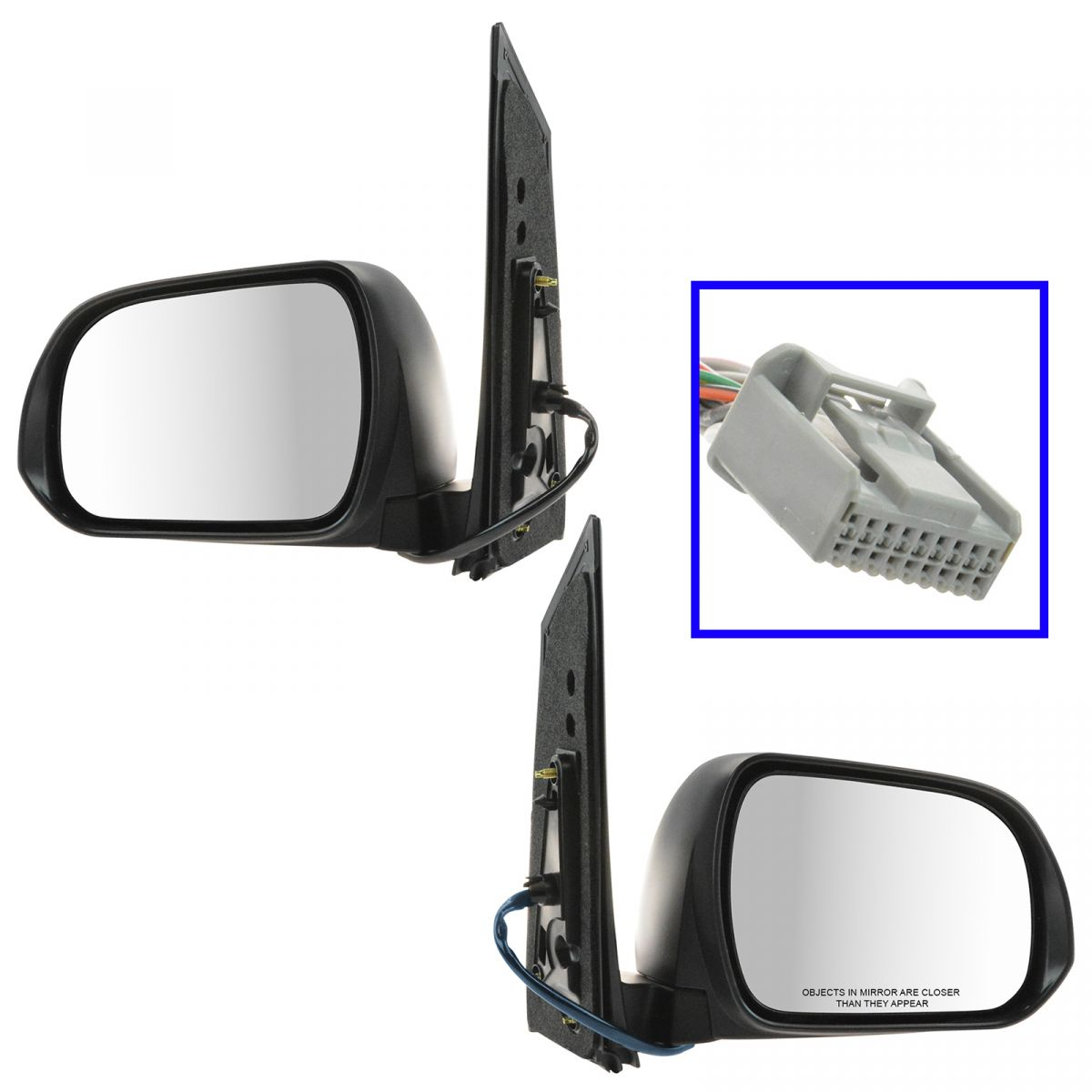 For 11-14 Sienna Power Non-Heat Black Fold Rear View Mirror Right Left PAIR SET