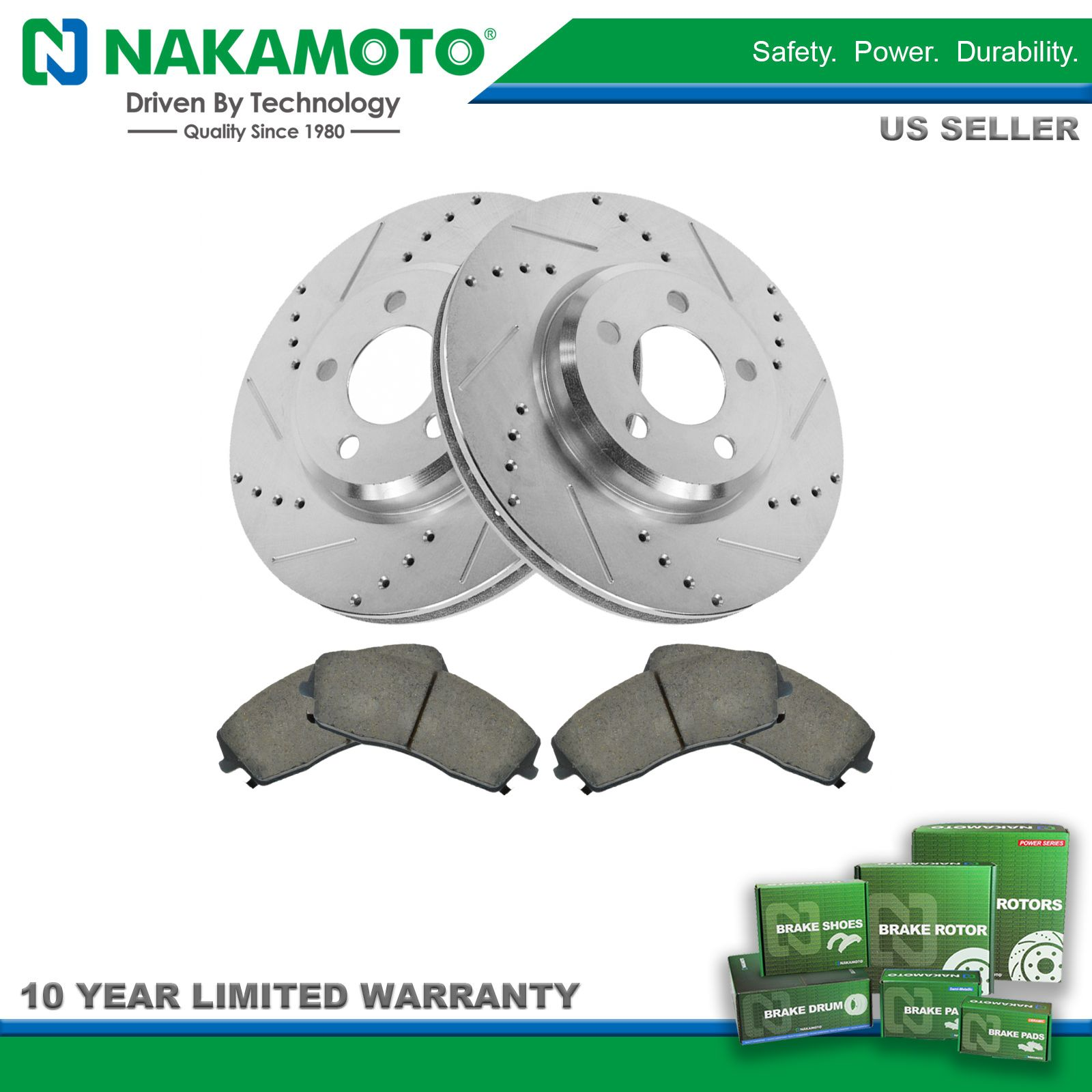 Nakamoto Rotor /& Brake Pad Ceramic Performance Drilled Slotted Rear Kit for Ford