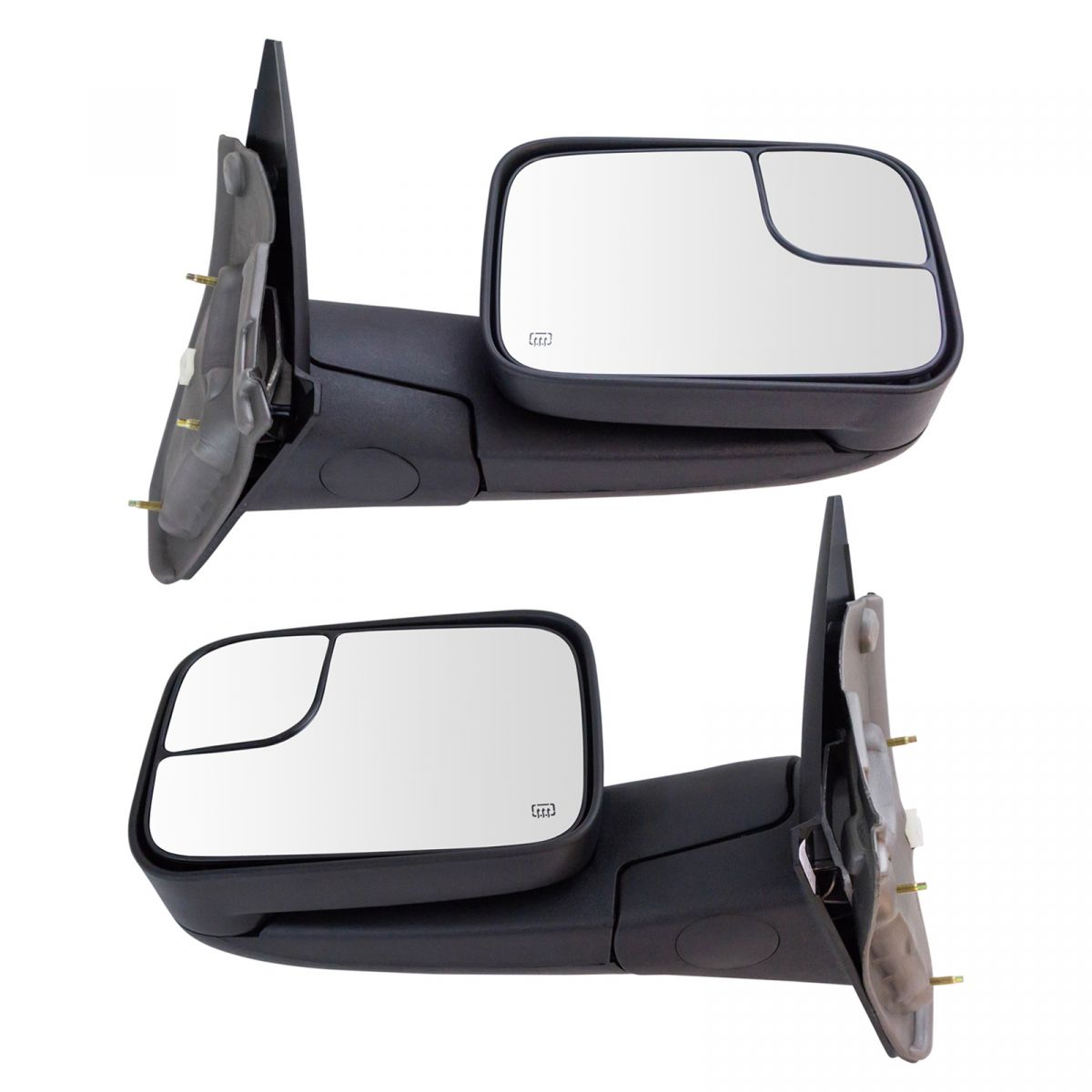 Towing Mirror Power Heated Textured Black Pair Set for Dodge Ram Truck New