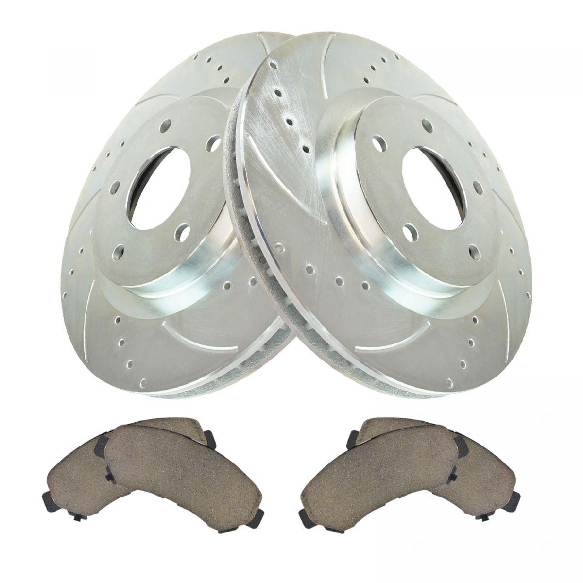 Front Posi Ceramic Disc Brake Pad Performance Cross Drilled Rotor Wheel Hub Kit